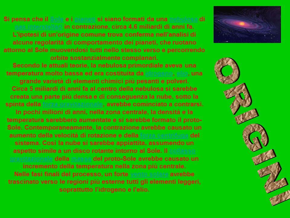 Si pensa che il Sole e i pianeti si siano formati da una nebulosa di gas interstellari in contrazione, circa 4,6 miliardi di anni fa. L ipotesi di un origine comune trova conferma nell analisi di alcune regolarità di comportamento dei pianeti, che ruotano attorno al Sole muovendosi tutti nello stesso verso e percorrendo orbite sostanzialmente complanari.