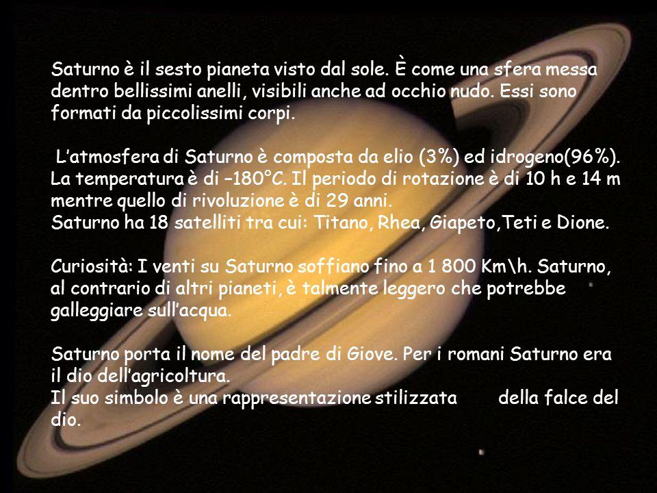 Saturno è il sesto pianeta visto dal sole