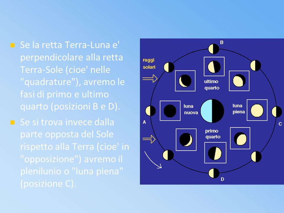 Se la retta Terra-Luna e perpendicolare alla retta Terra-Sole (cioe nelle quadrature ), avremo le fasi di primo e ultimo quarto (posizioni B e D).