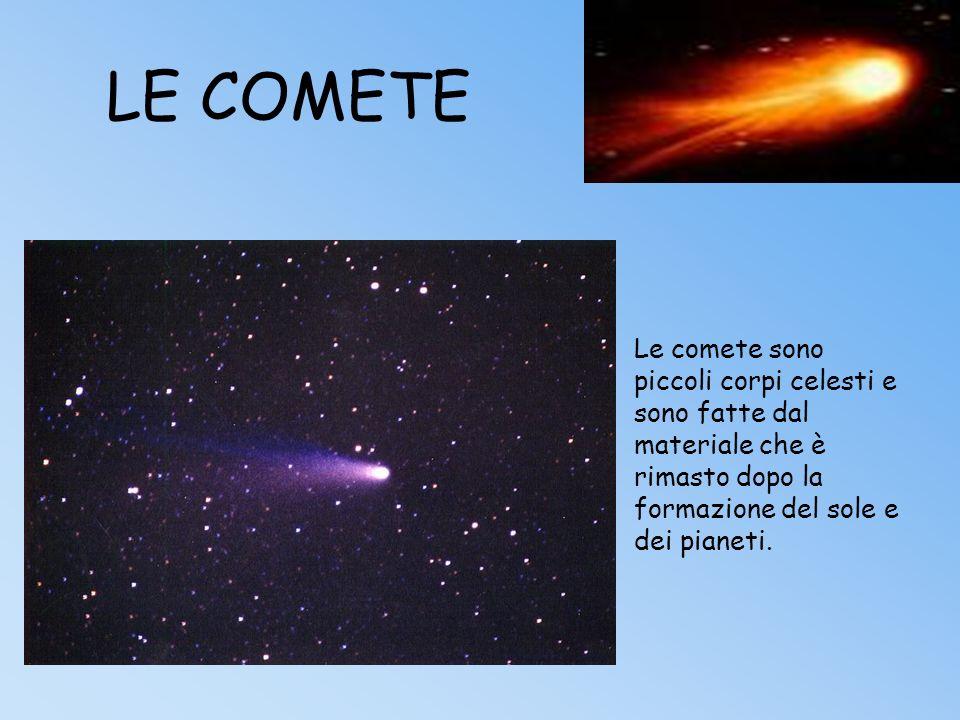 LE COMETELe comete sono piccoli corpi celesti e sono fatte dal materiale che è rimasto dopo la formazione del sole e dei pianeti.