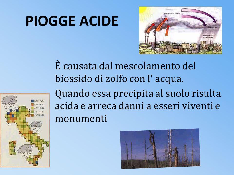 PIOGGE ACIDEÈ causata dal mescolamento del biossido di zolfo con l' acqua.