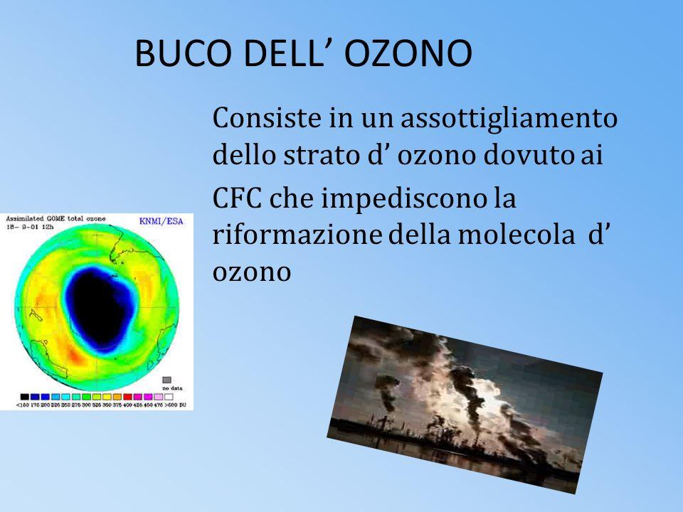 BUCO DELL' OZONO Consiste in un assottigliamento dello strato d' ozono dovuto ai.