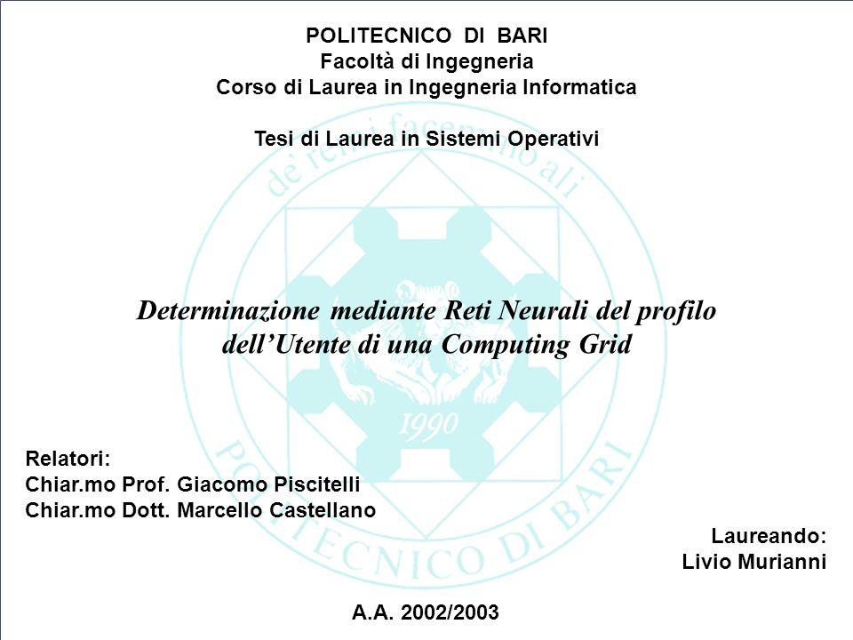 POLITECNICO DI BARI Facoltà di Ingegneria. Corso di Laurea in Ingegneria Informatica. Tesi di Laurea in Sistemi Operativi.