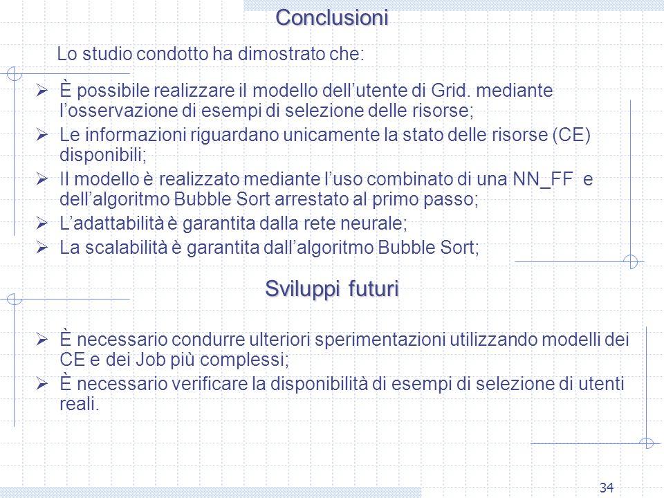 Conclusioni Sviluppi futuri Lo studio condotto ha dimostrato che: