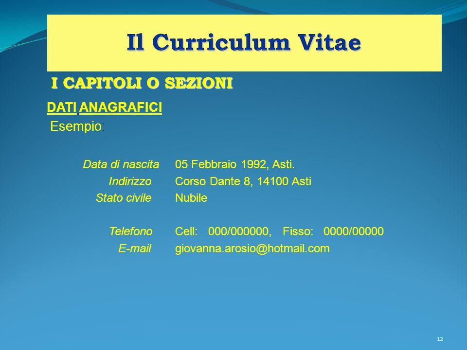 Il Curriculum Vitae I CAPITOLI O SEZIONI DATI ANAGRAFICI Esempio: