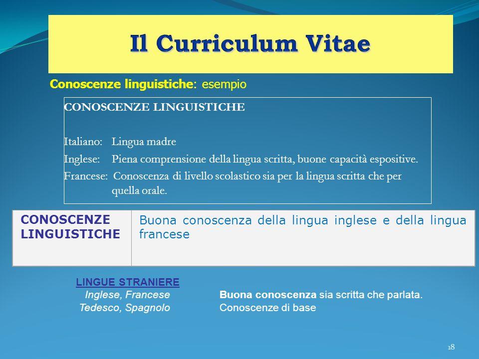 Il Curriculum Vitae Conoscenze linguistiche: esempio