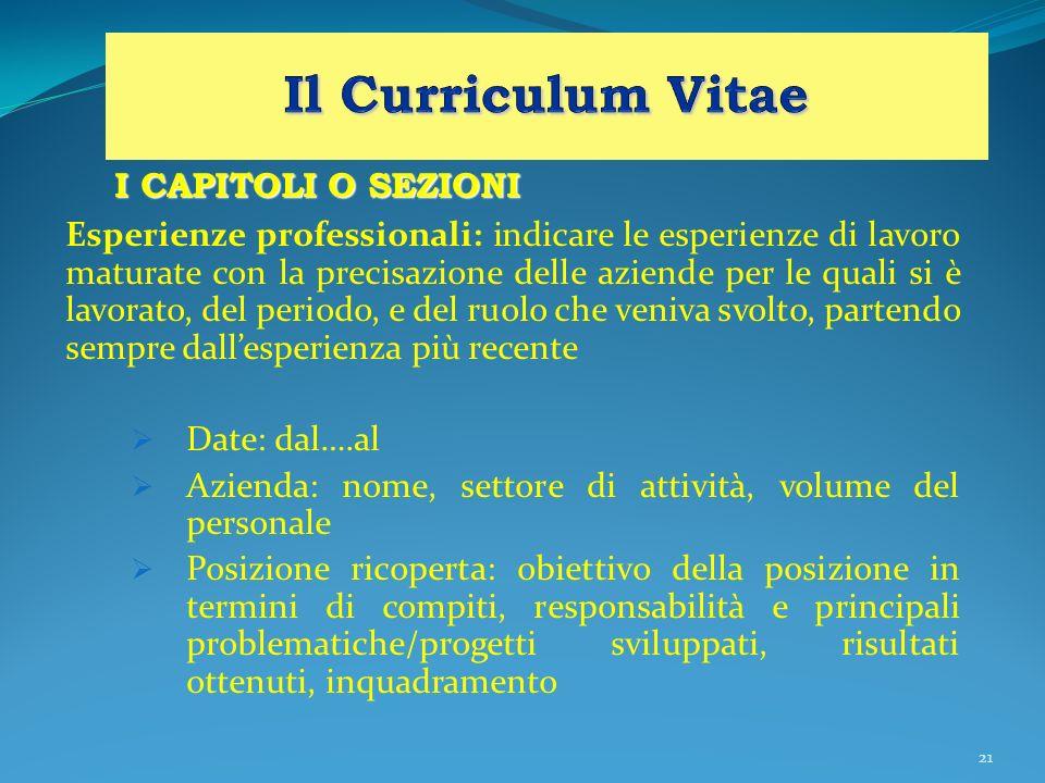 Il Curriculum Vitae I CAPITOLI O SEZIONI