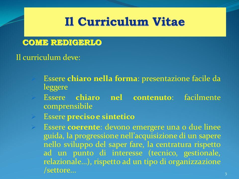 Il Curriculum Vitae COME REDIGERLO Il curriculum deve: