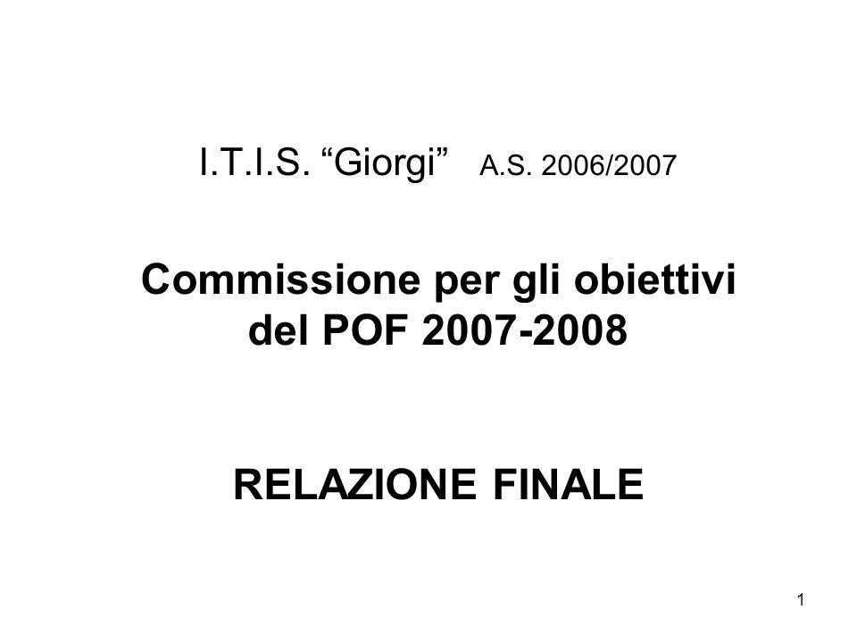 I.T.I.S. Giorgi A.S. 2006/2007 Commissione per gli obiettivi del POF 2007-2008 RELAZIONE FINALE