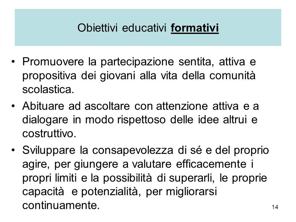 Obiettivi educativi formativi
