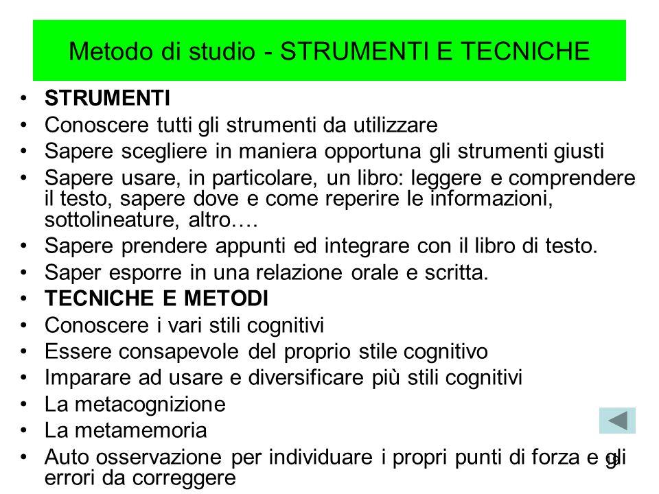 Metodo di studio - STRUMENTI E TECNICHE