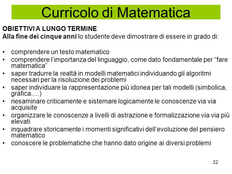 Curricolo di Matematica