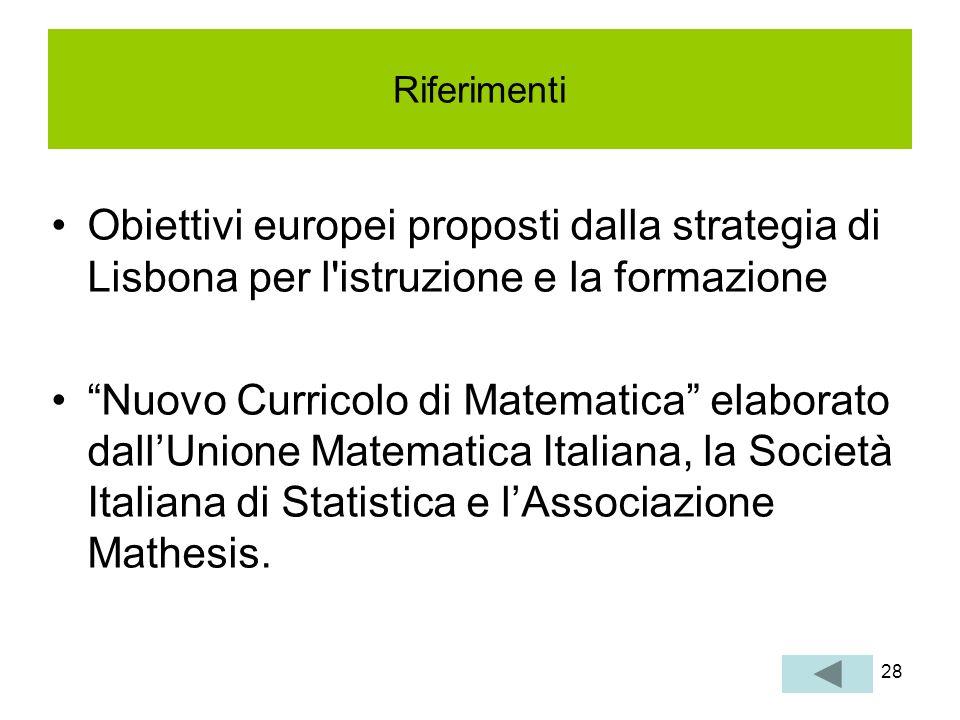 Riferimenti Obiettivi europei proposti dalla strategia di Lisbona per l istruzione e la formazione.
