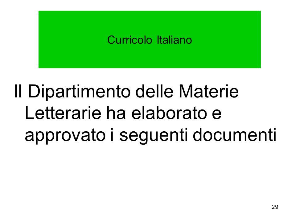 Curricolo Italiano Il Dipartimento delle Materie Letterarie ha elaborato e approvato i seguenti documenti.