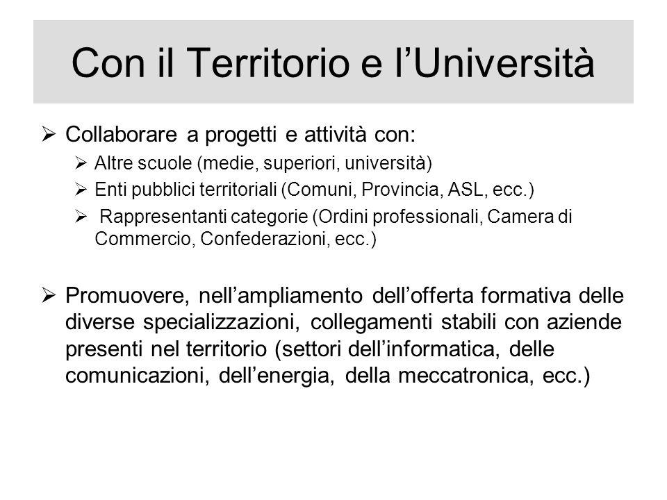 Con il Territorio e l'Università