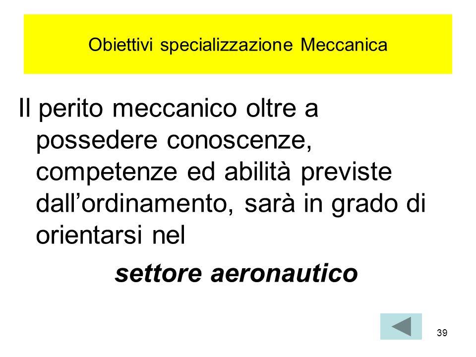 Obiettivi specializzazione Meccanica