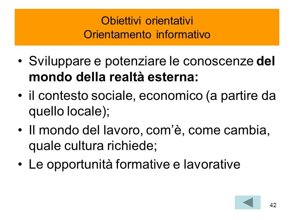 Obiettivi orientativi Orientamento informativo