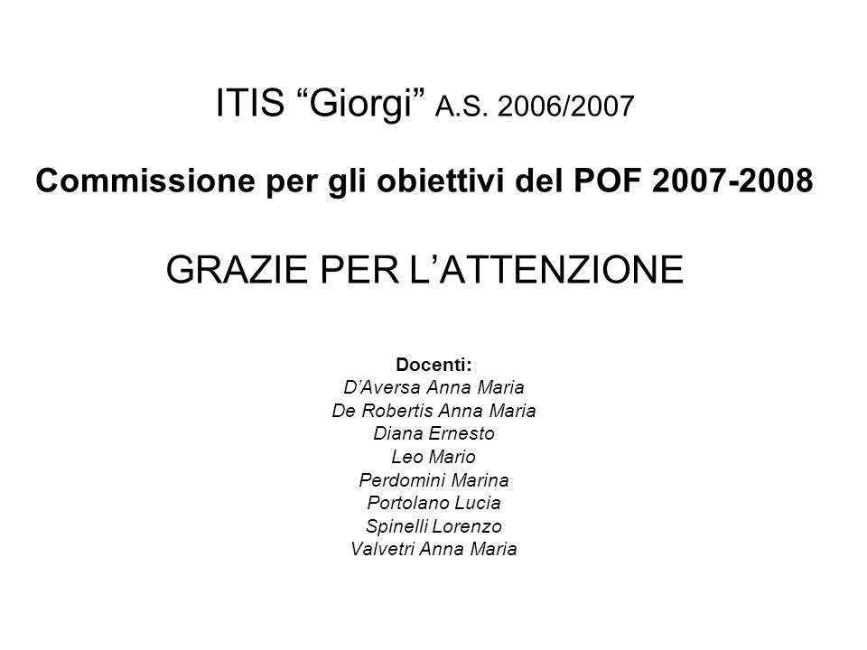 ITIS Giorgi A.S. 2006/2007 Commissione per gli obiettivi del POF 2007-2008 GRAZIE PER L'ATTENZIONE
