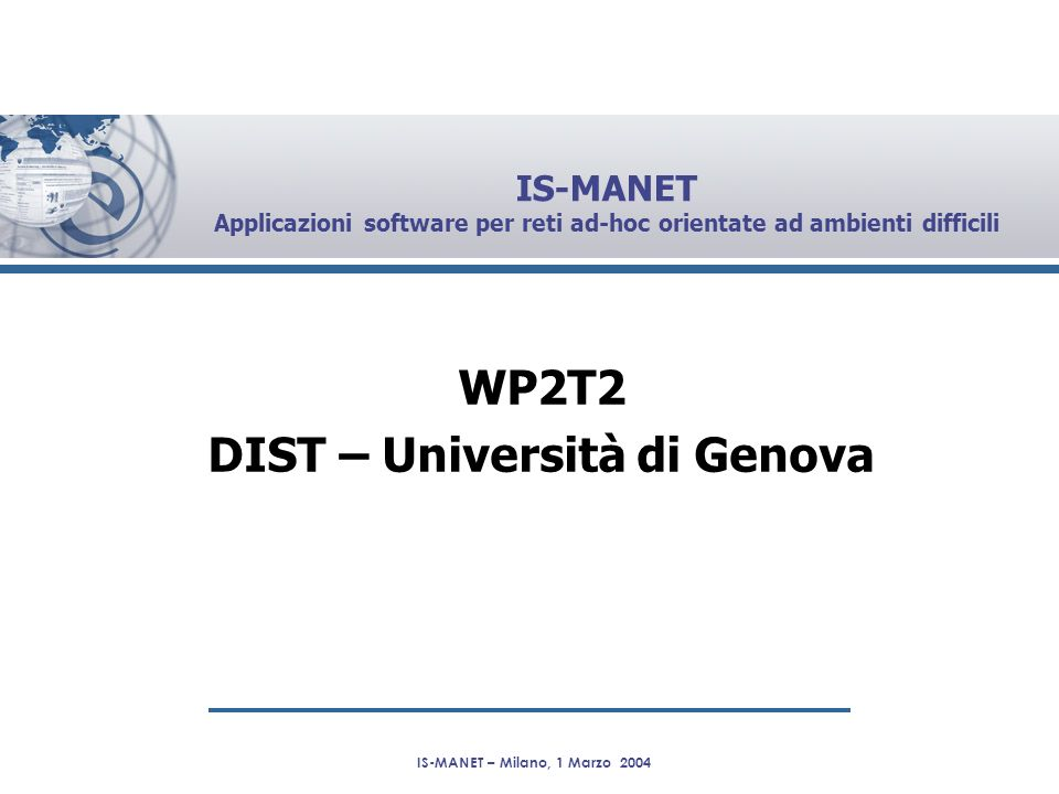 WP2T2 DIST – Università di Genova