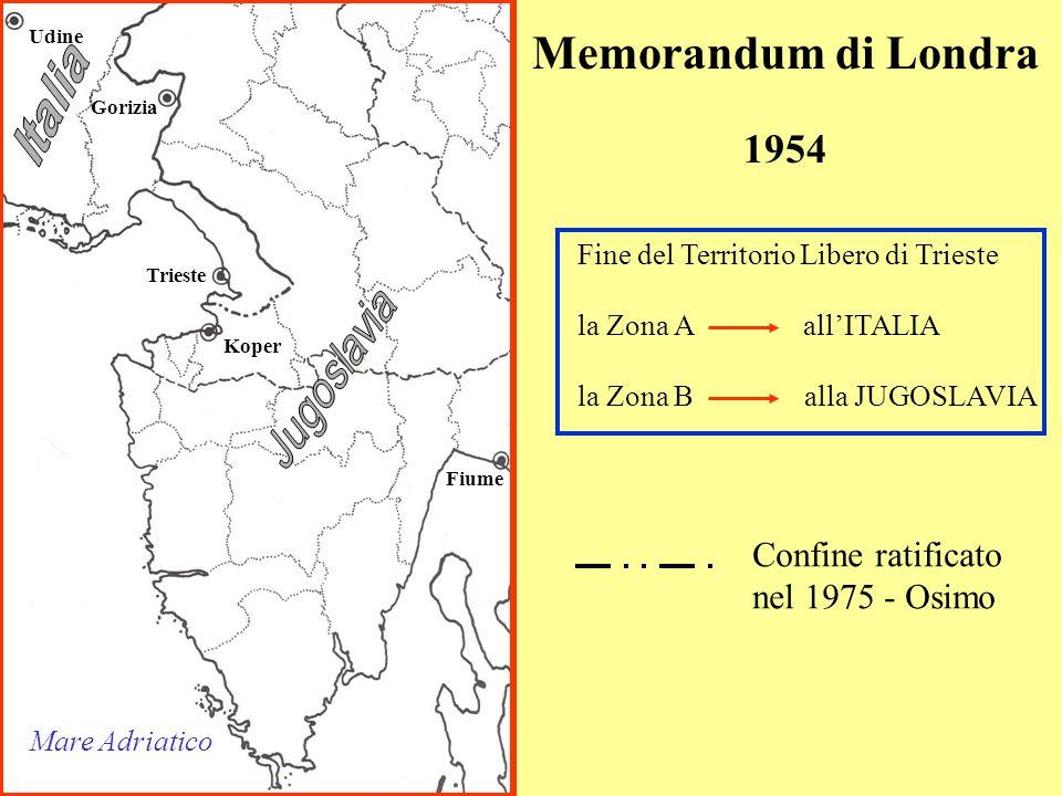Memorandum di Londra Italia 1954 Jugoslavia Confine ratificato