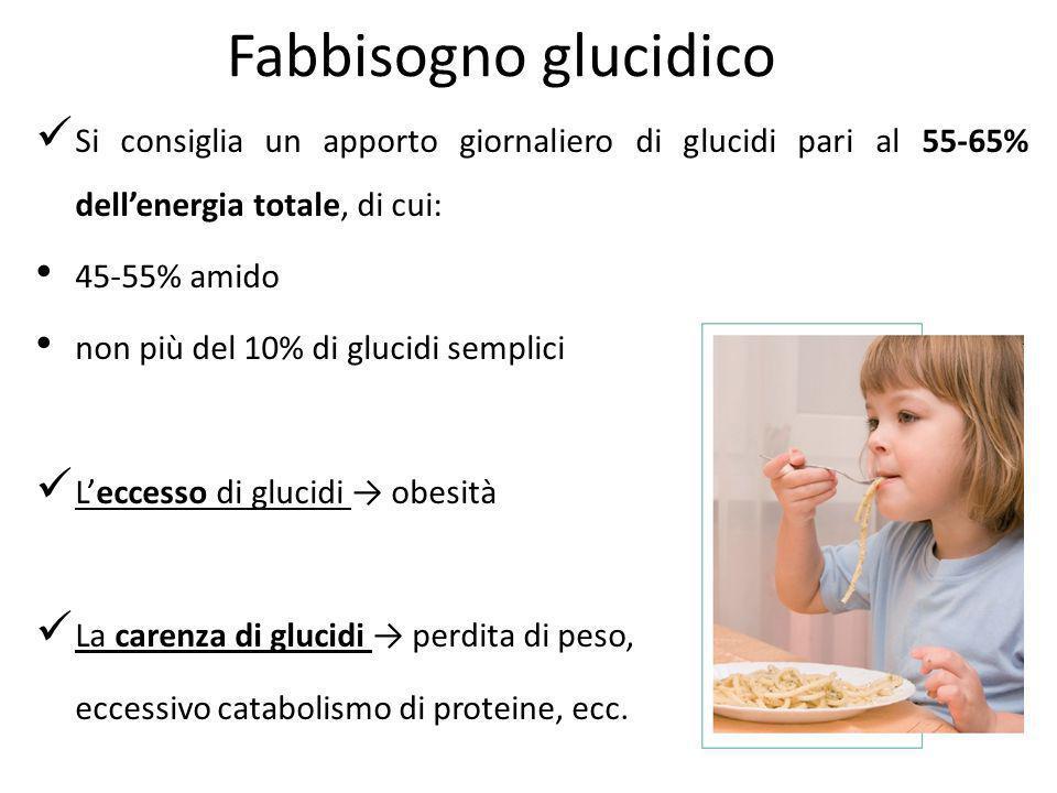 Fabbisogno glucidico Si consiglia un apporto giornaliero di glucidi pari al 55-65% dell'energia totale, di cui: