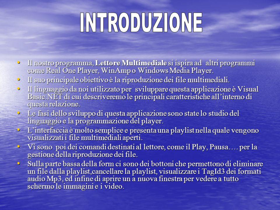 INTRODUZIONE Il nostro programma, Lettore Multimediale si ispira ad altri programmi come Real One Player, WinAmp o Windows Media Player.
