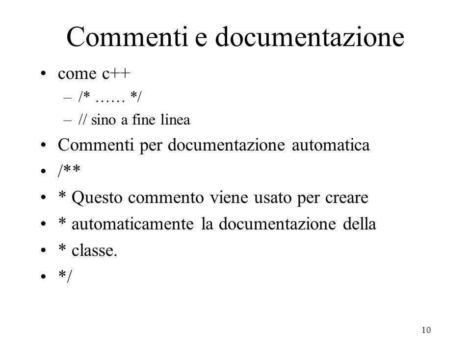 Commenti e documentazione