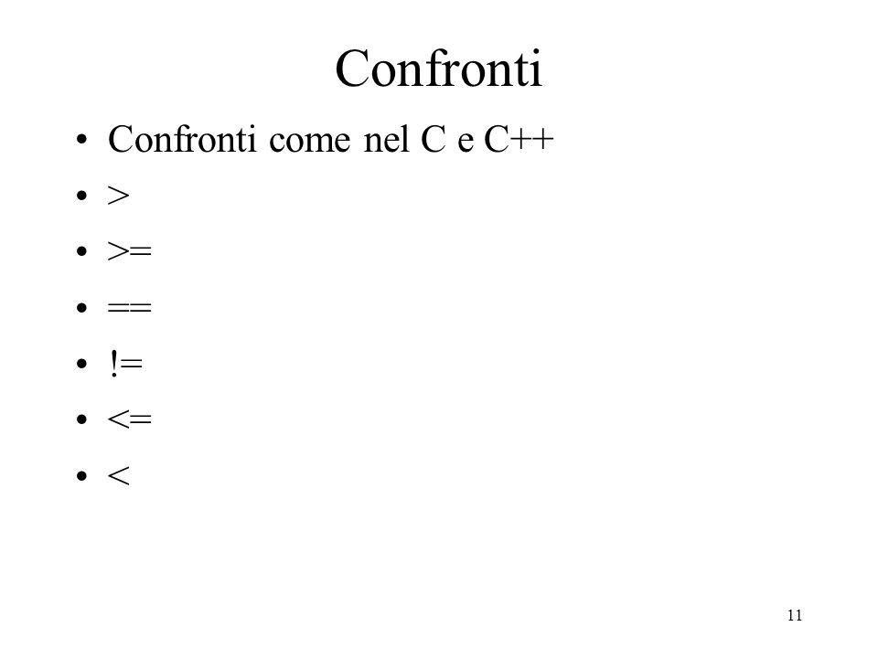 Confronti Confronti come nel C e C++ > >= == != <= <
