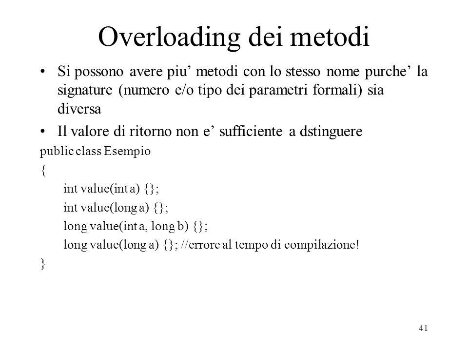 Overloading dei metodi