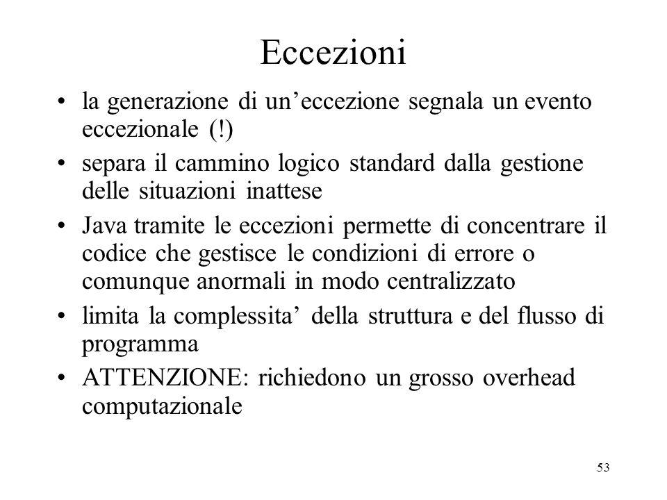 Eccezioni la generazione di un'eccezione segnala un evento eccezionale (!)
