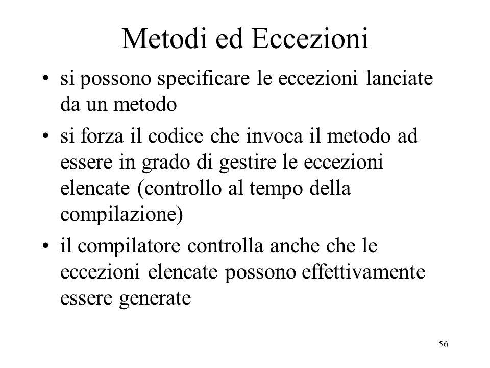 Metodi ed Eccezioni si possono specificare le eccezioni lanciate da un metodo.
