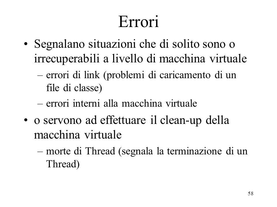 Errori Segnalano situazioni che di solito sono o irrecuperabili a livello di macchina virtuale.
