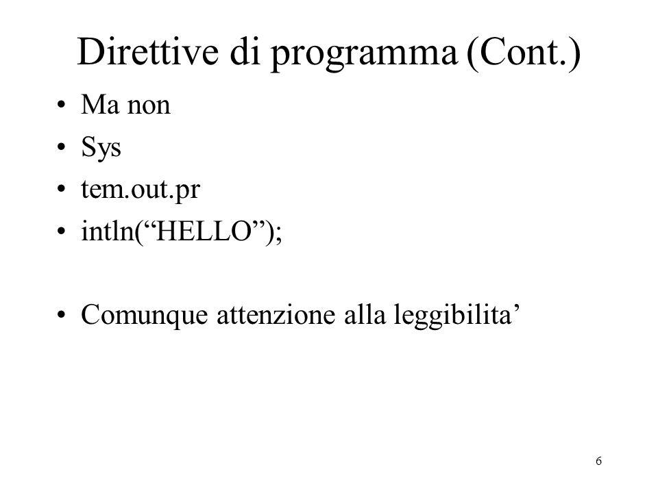 Direttive di programma (Cont.)