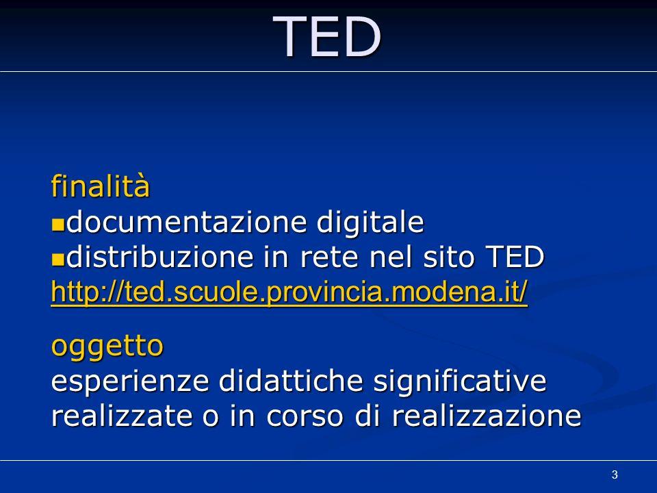TED finalità documentazione digitale