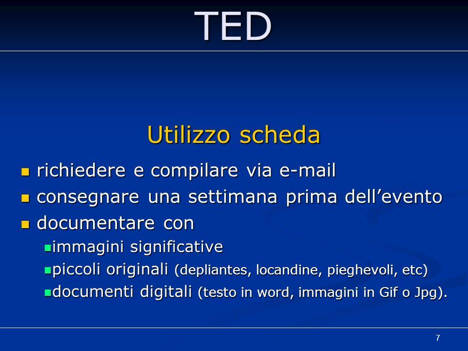 TED Utilizzo scheda richiedere e compilare via e-mail