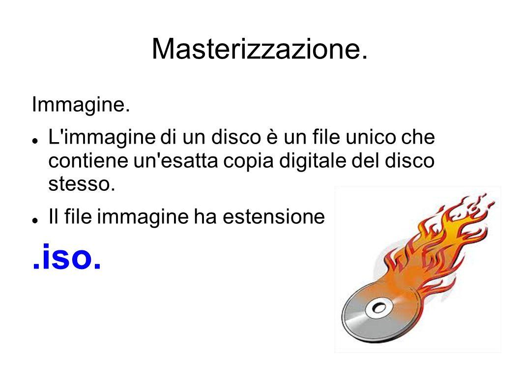 .iso. Masterizzazione. Immagine.