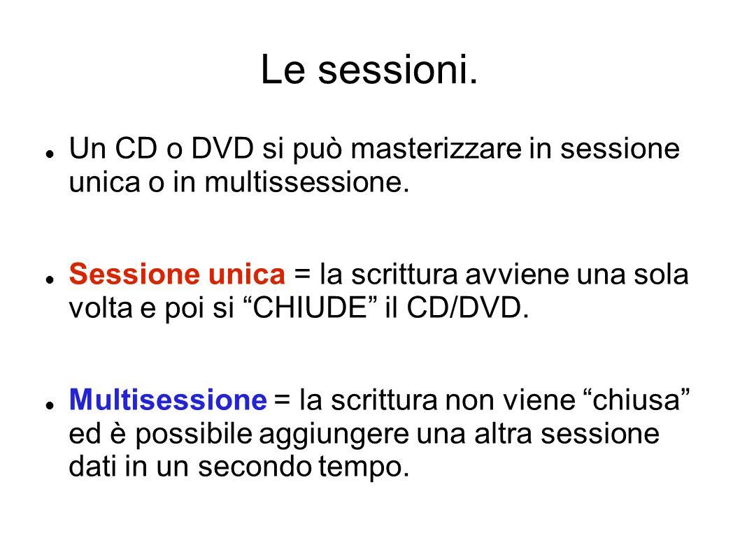 Le sessioni. Un CD o DVD si può masterizzare in sessione unica o in multissessione.