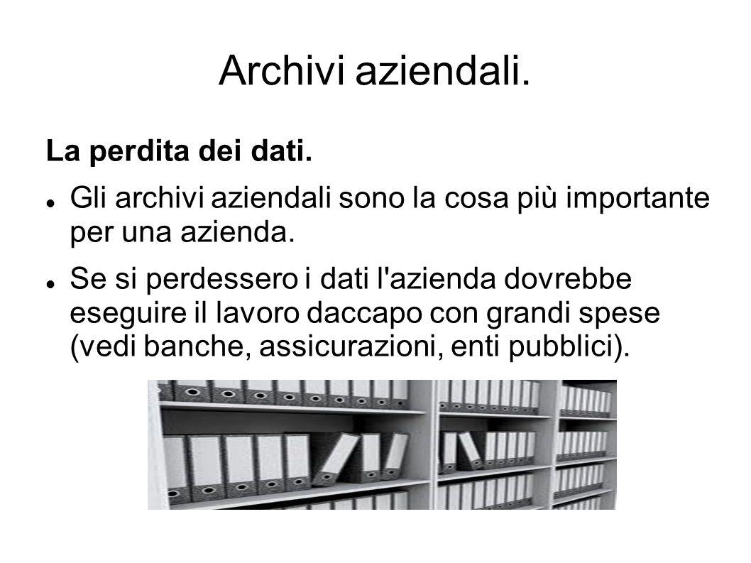 Archivi aziendali. La perdita dei dati.