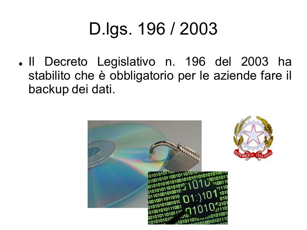 D.lgs. 196 / 2003 Il Decreto Legislativo n.