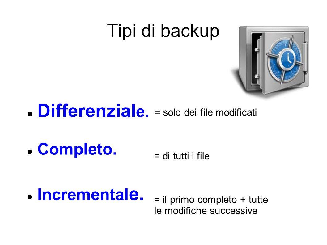 Tipi di backup Differenziale. Completo. Incrementale.