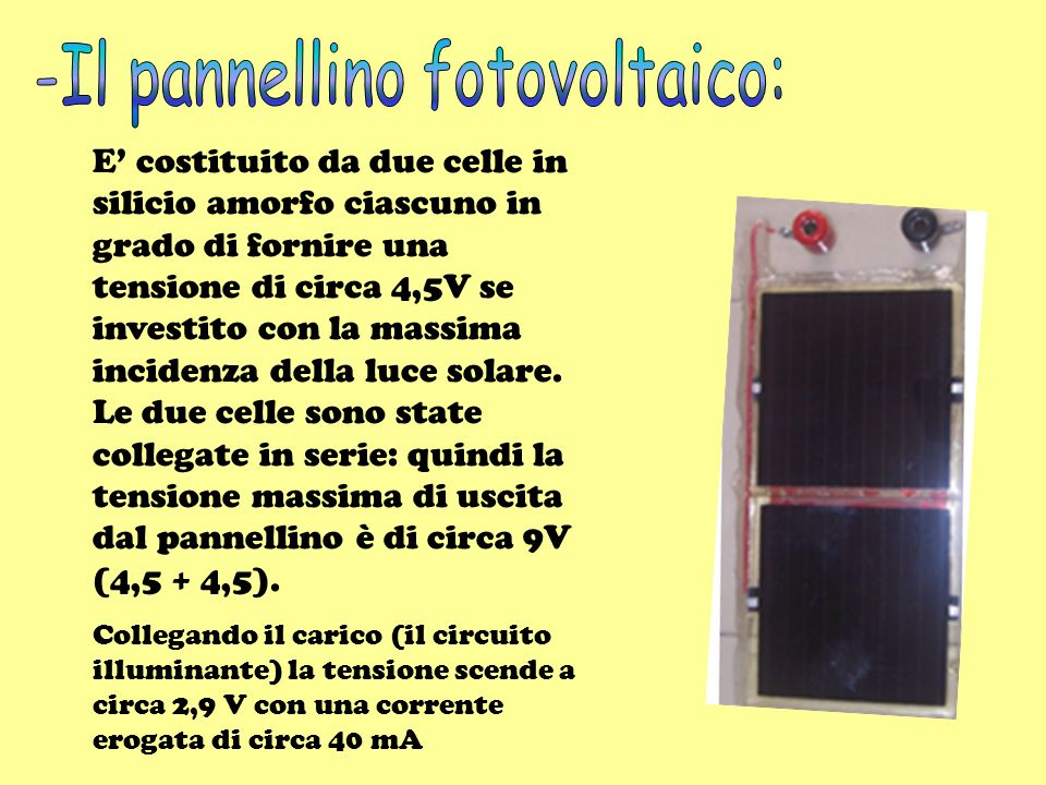 -Il pannellino fotovoltaico: