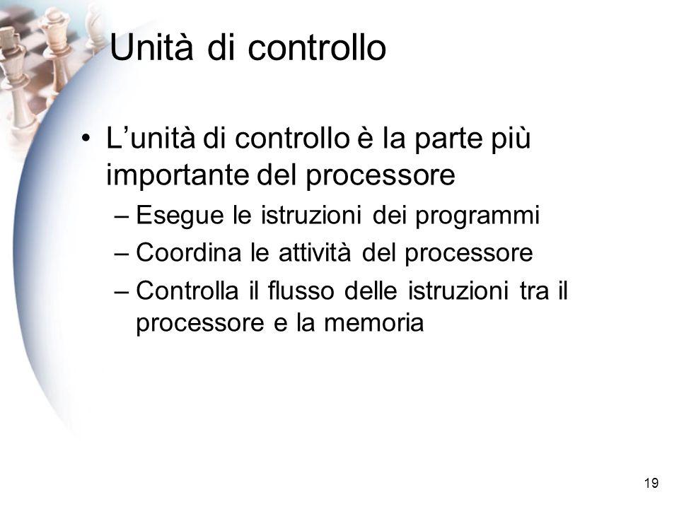 Unità di controllo L'unità di controllo è la parte più importante del processore. Esegue le istruzioni dei programmi.