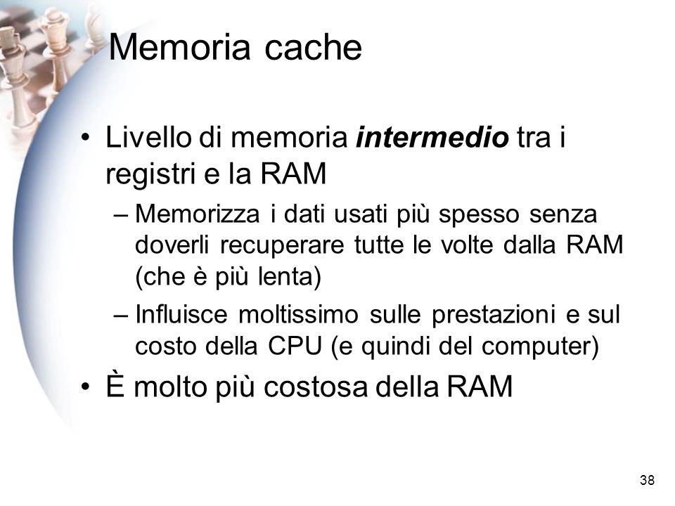 Memoria cache Livello di memoria intermedio tra i registri e la RAM