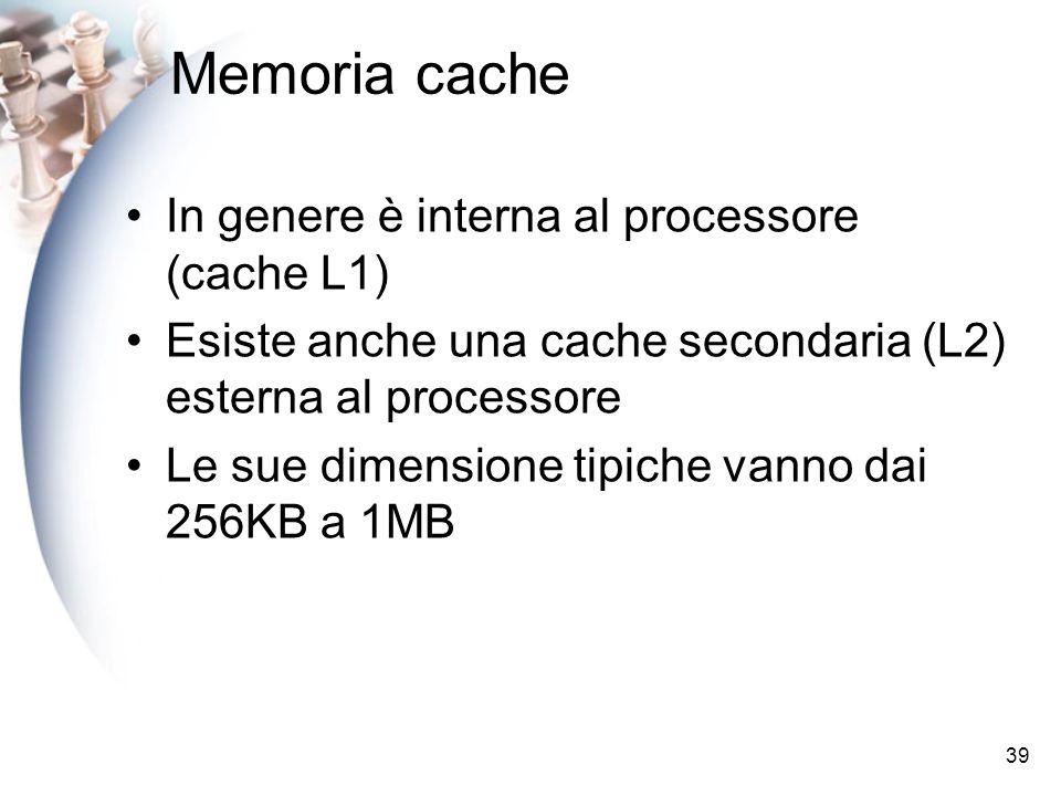 Memoria cache In genere è interna al processore (cache L1)