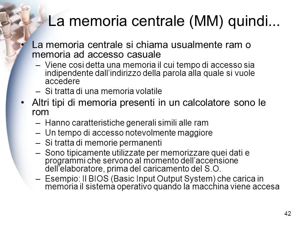 La memoria centrale (MM) quindi...