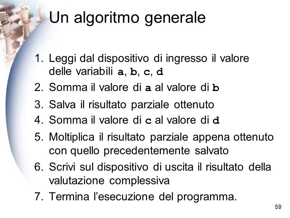 Un algoritmo generale Leggi dal dispositivo di ingresso il valore delle variabili a, b, c, d. Somma il valore di a al valore di b.