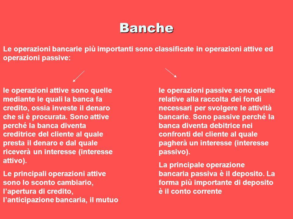 Banche Le operazioni bancarie più importanti sono classificate in operazioni attive ed operazioni passive: