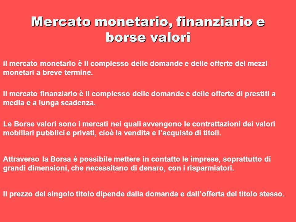 Mercato monetario, finanziario e borse valori