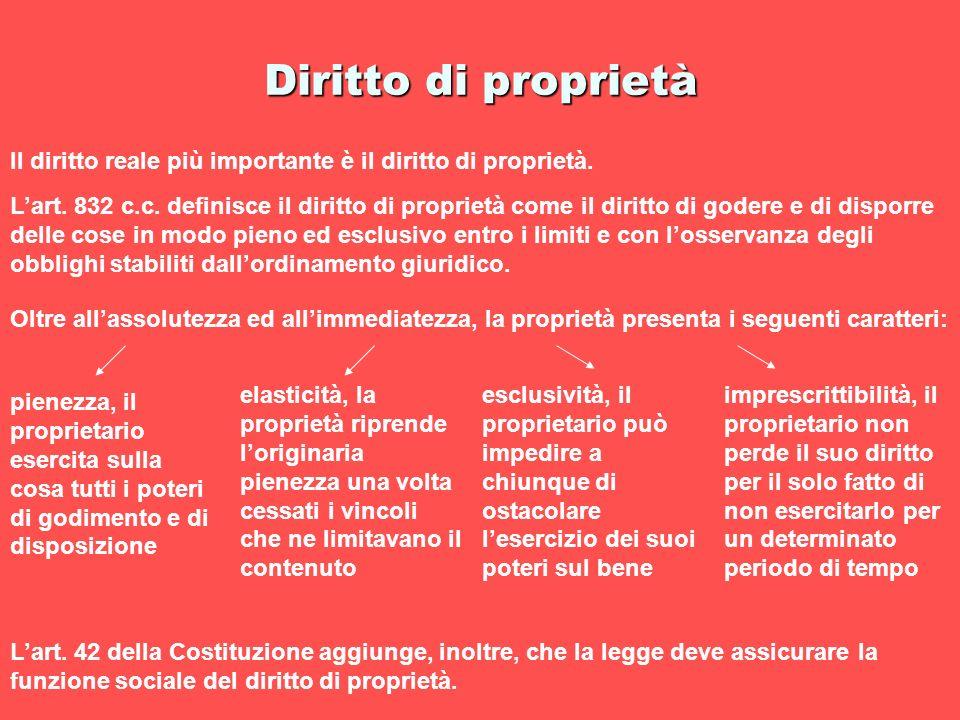 Diritto di proprietà Il diritto reale più importante è il diritto di proprietà.