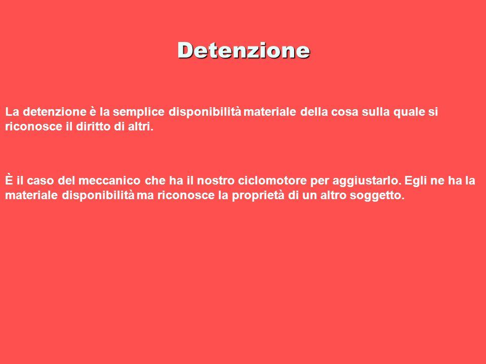 Detenzione La detenzione è la semplice disponibilità materiale della cosa sulla quale si riconosce il diritto di altri.